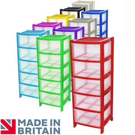 Five Drawer Plastic Storage by 5 Drawer Plastic Large Tower Storage Drawers Unit With