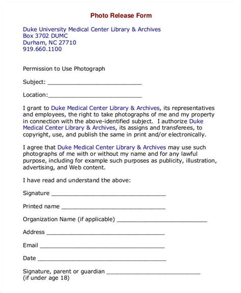 photography permission form template photo release form template 9 free pdf documents