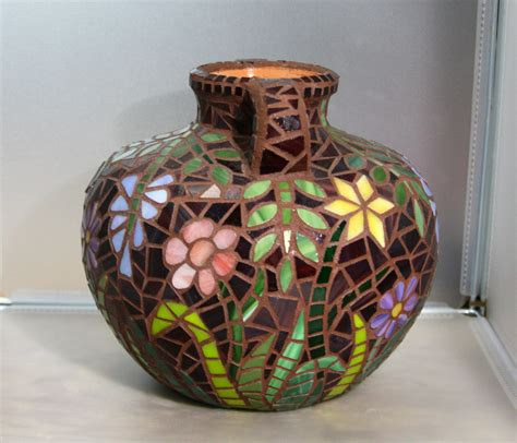 flowers at midnight glass mosaic vase