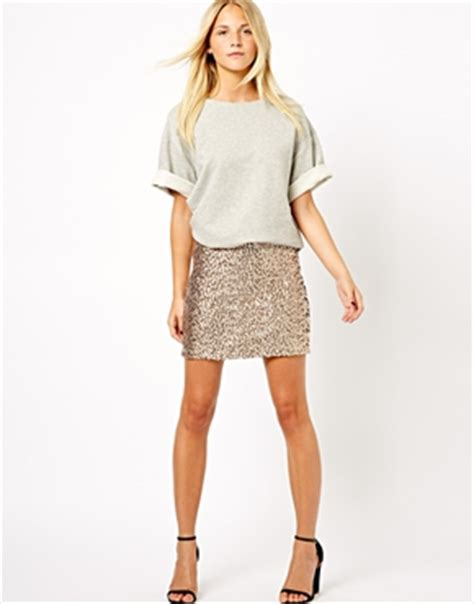 Get The Look Jessicas Sequin Mini Dress by New Look New Look Sequin Mini Skirt At Asos
