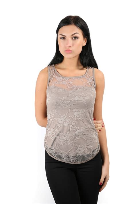 Wst 19513 Grey V Neck Embroidered Blouse Size S M L sleeveless stretch bodycon floral lace top womens