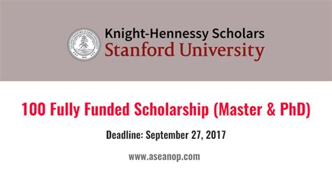 Stanford Scholarship Mba Master S by Hennessy 100 Master And Phd Scholarships At