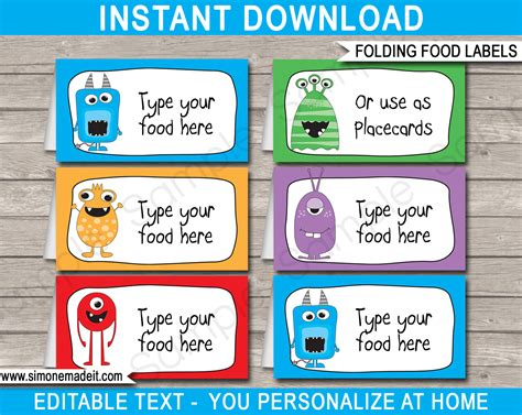 food label cards template food labels place cards theme