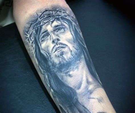 tattoo jesus forearm 100 christian tattoos for men manly spiritual designs