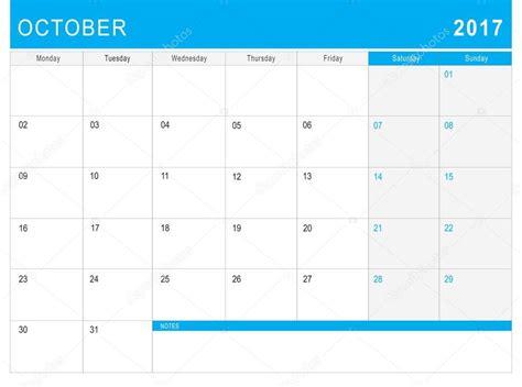 Calendario Octubre 2017 Excel Calendario Octubre 2017 O Planificador De Escritorio Con
