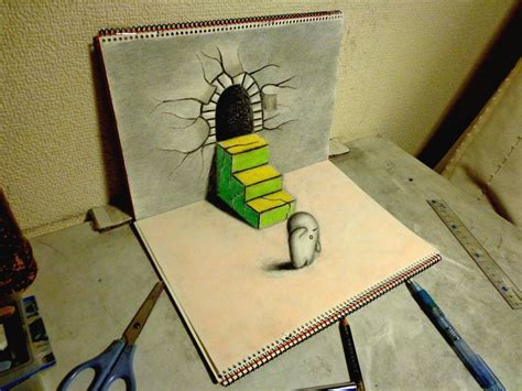 How To Make Paper Look 3d - 3d drawing escape by nagaihideyuki on deviantart