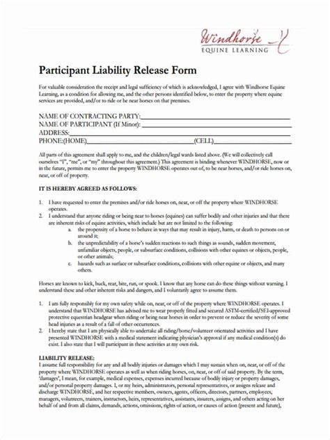 equine release form 29 sle liability forms