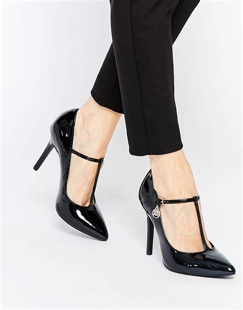 Heels T In Black By lyst faith cartel t bar heeled shoes in black