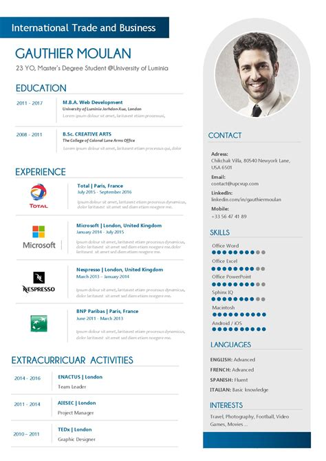 Cv In Commercial cv moderne commercial exemple cv upcvup