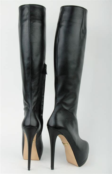 high heels boots high size boots black leather platform pasha