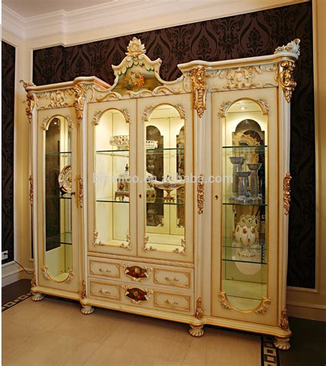 fancy glass display cabinet luxe fran 231 ais rococo style blanc stuy salle de