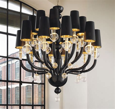 Contemporary Black Chandelier Black Glass Modern Murano Chandelier Black Lshades