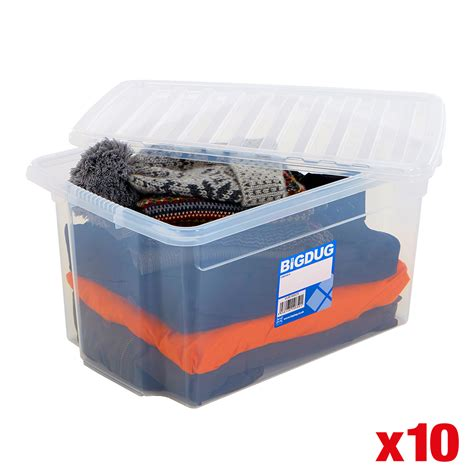Buket Box Kado Bunga Box 10 x plastic storage boxes large containers with lid clear box 4 sizes bigdug ebay