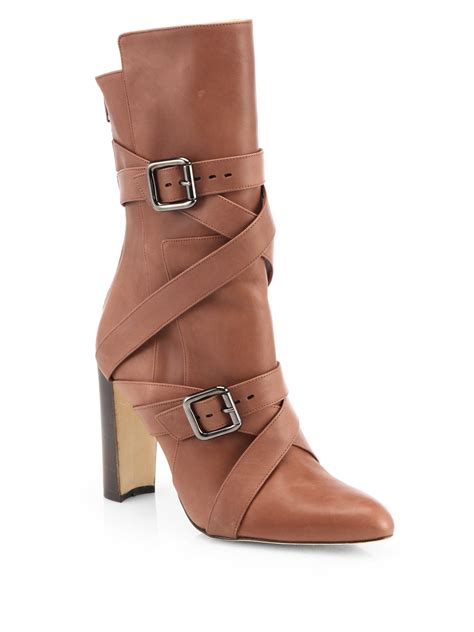 manolo blahnik boots manolo blahnik strappy leather midcalf boots in brown