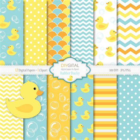 rubber ducky digital paper set rubber ducky clipart 12 blue