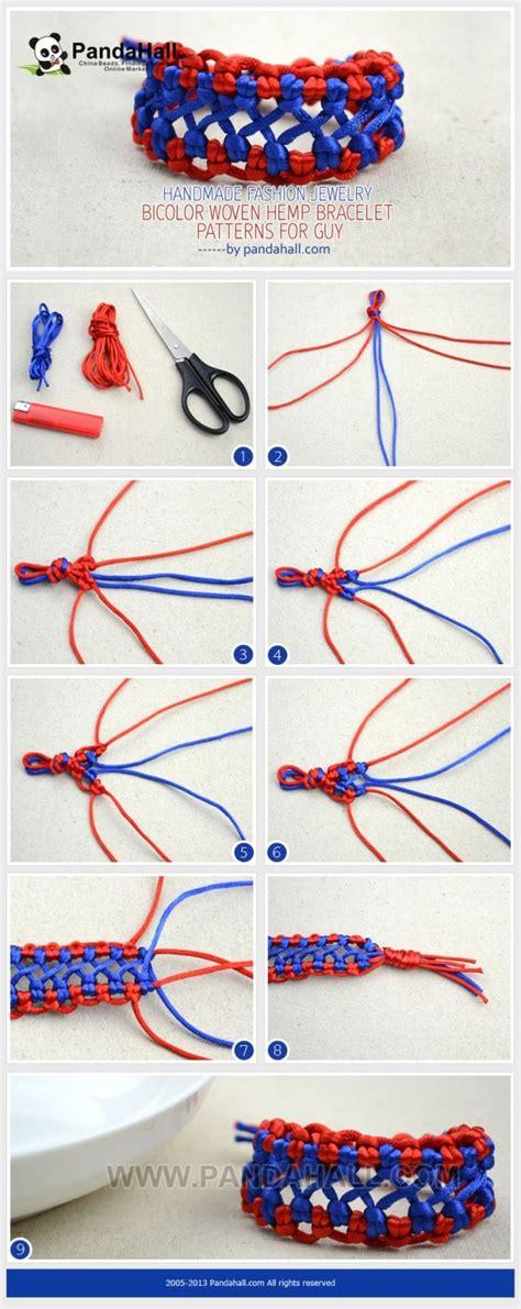 Make Macramé Cord Bracelet Patterns Home - pandahall offers you this bicolor woven hemp bracelet