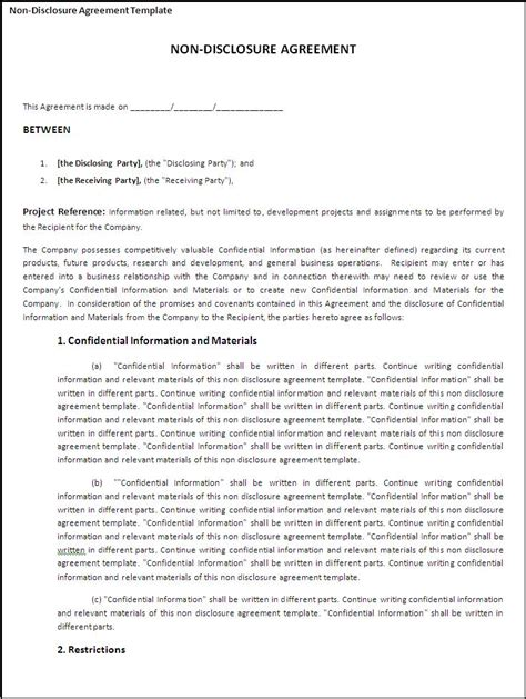 confidentiality agreement free template non disclosure agreement template best word templates