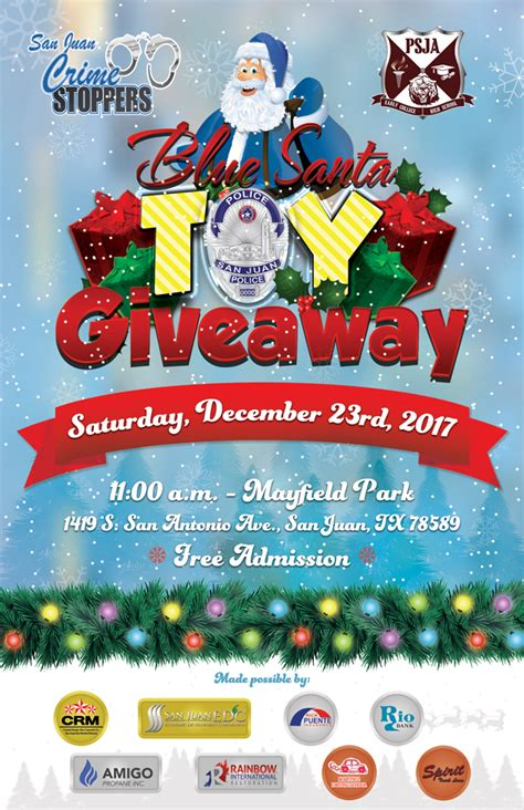 Toy Giveaway 2017 - blue santa toy giveaway 2017 city of san juan