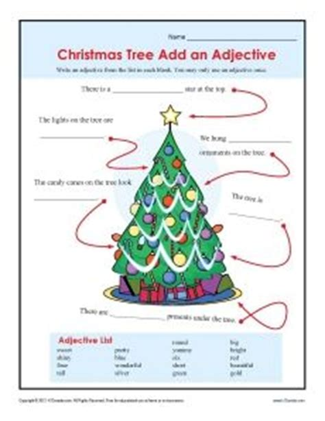 words that describe christmas add an adjective worksheet for 2nd and 3rd grade trees student and an