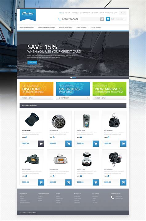 opencart templates responsive responsive marine store opencart template 46249 by zemez