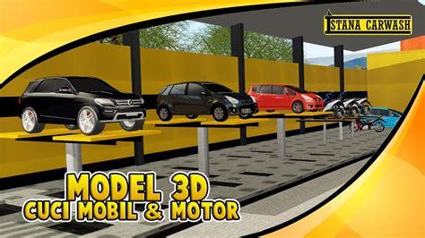 Sho Cuci Mobil Motor Ikame model 3d usaha cuci mobil motor
