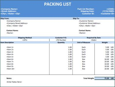 14 Packing List Templates Excel Pdf Formats Packing List Template Excel