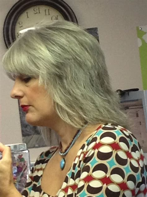 Gray Shag Hairstyle | gray hair gray haircut long shag layers pretty hair