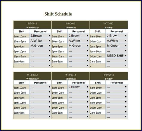 3 shift schedule template 3 shift work schedule template template resume