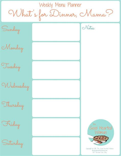 daily planner template publisher printable weekly menu planner the good hearted woman