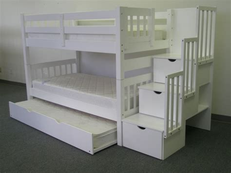 Trundle Bunk Bed With Stairs Save On Stairway Bunk Bed With Trundle White