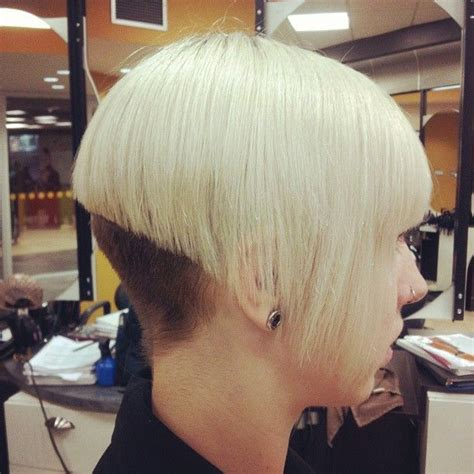 layered buzzed bob hair bleached blonde with buzzed brown nape bob haircuts with