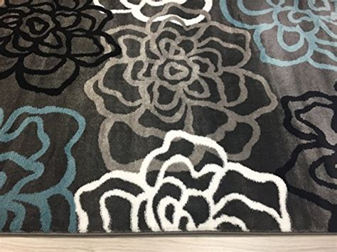 floral contemporary rugs rugshop contemporary modern floral flowers area rug 3 3 quot x 5 3 quot gray frenzystyle