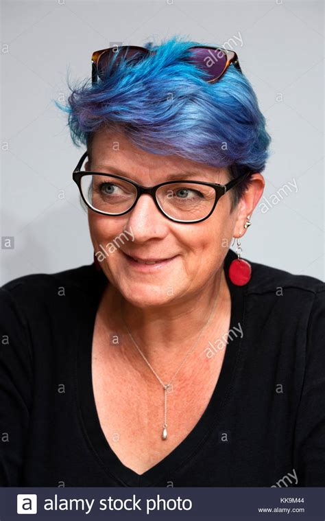 middle age women with blue hair middle aged woman short hair wearing stock photos middle