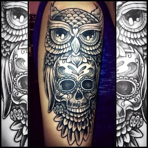 sugar skull owl tattoo designs owl skull loko