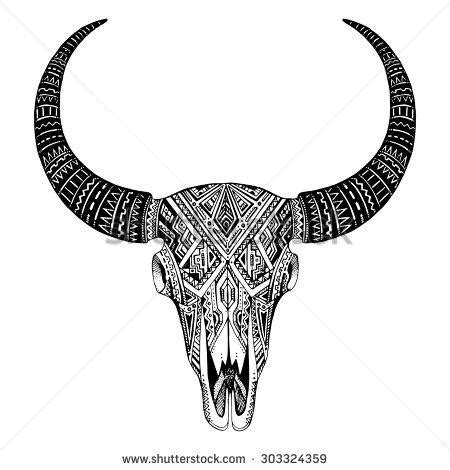 tribal bull skull tattoos decorative indian bull skull in tribal style