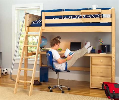 boys bed with desk knockout high loft bed with desk and 1 drawer in natural