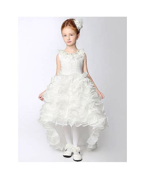 beaded flower dresses high low cascading beaded flower dress with lace