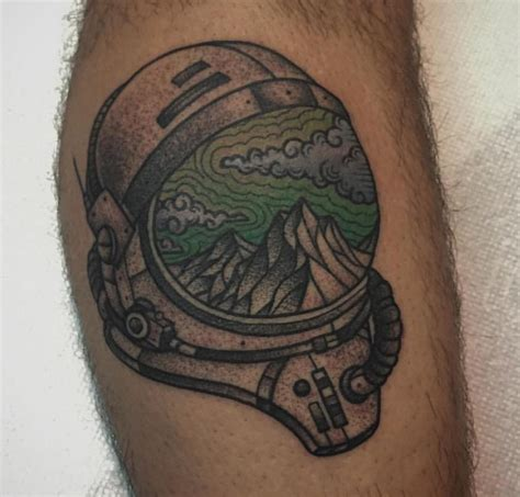 kamikaze tattoo cool reflection in a space helmet by kyle downs at