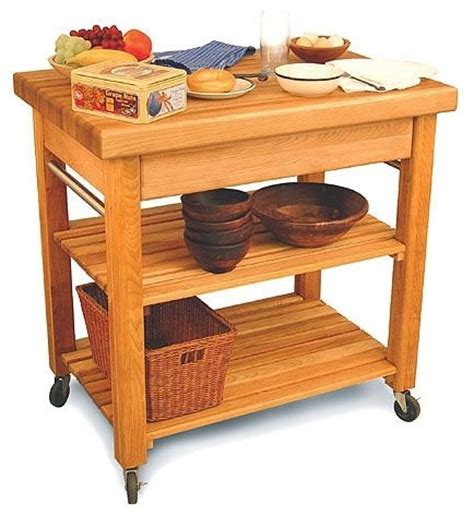 country kitchen cart with butcher block top