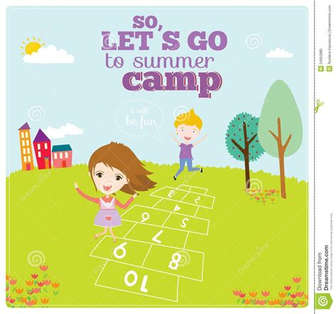 illustration of happy kids on summer background stock