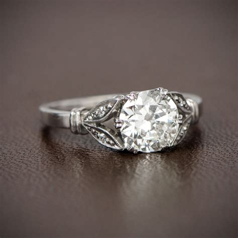 antique style engagement ring 1 13ct mine cut