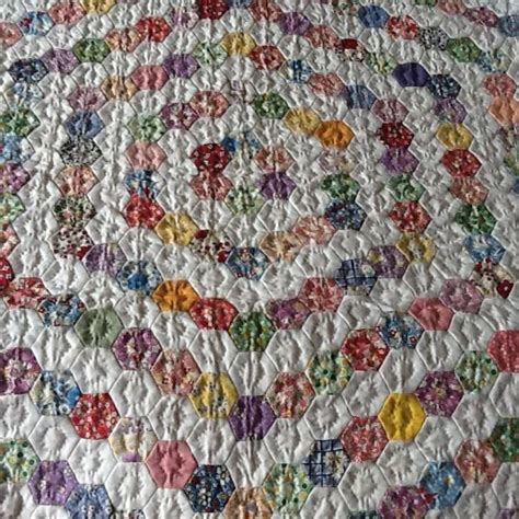 Hexagon Patchwork Quilt by Truly Scrappy Hexagons Set With White Anybody Where