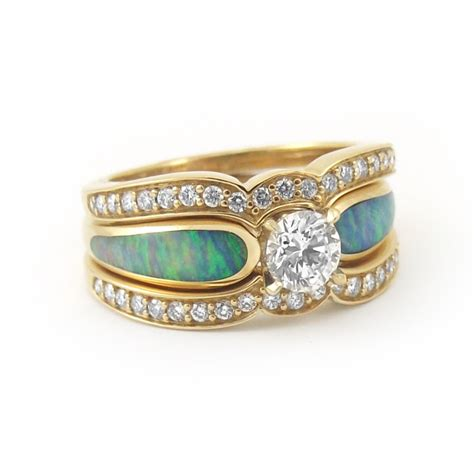 turquoise opal engagement rings quot sunlit sea quot and opal engagement ring rose gold