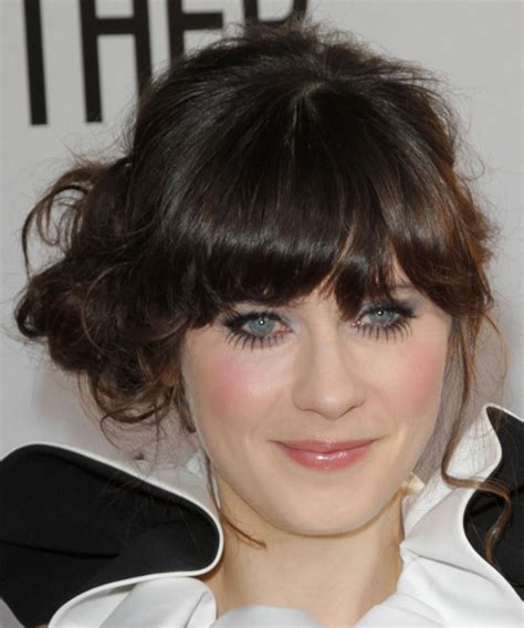 zooey deschanel updo hairstyles zooey deschanel long curly casual updo hairstyle with