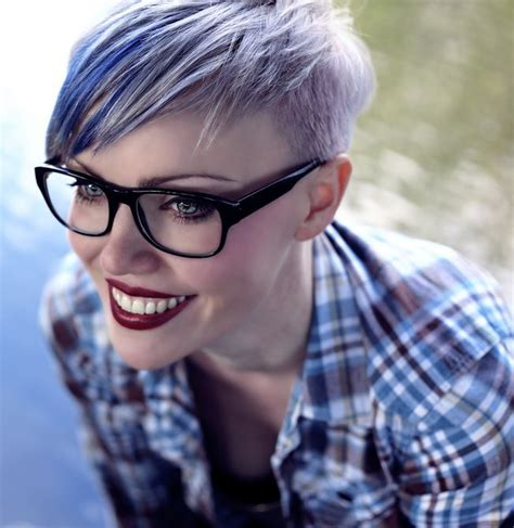 blue gray burr cut hair blue purple pixie cut hair favorites pinterest