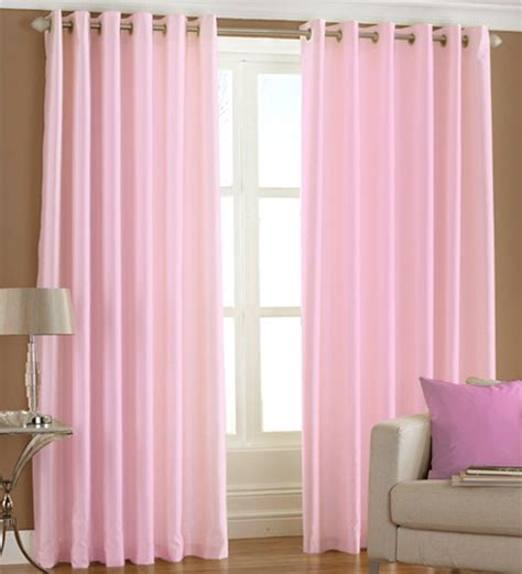 curtains pink pindia solid baby pink window curtains set of 2 5 ft by