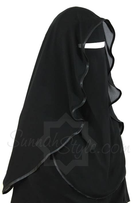 Khimar Ameerah satin trimmed butterfly niqab black by sunnah style