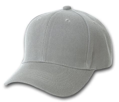 plain gray baseball cap blank hat solid color velcro