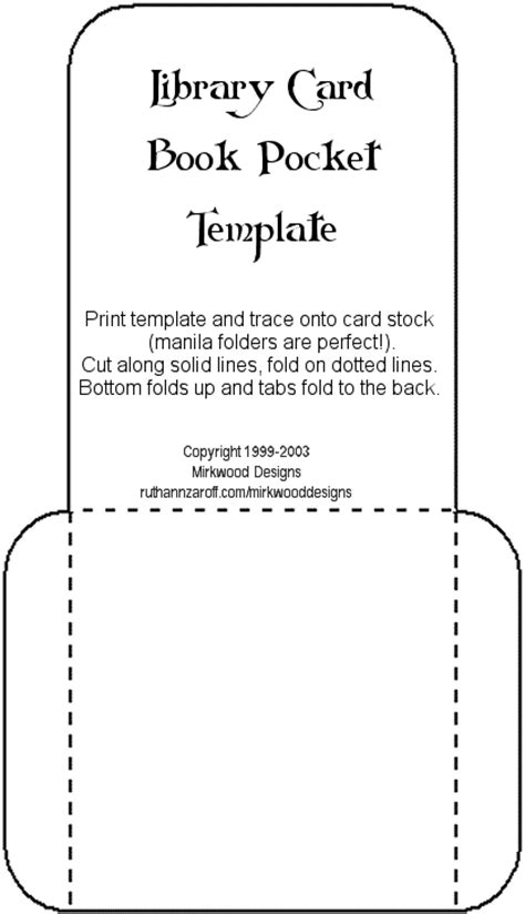 free pocket card template mirkwood designs artistry in rubber library card book
