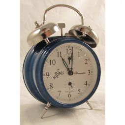 key wind double bell mechanical alarm clock blue